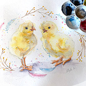 Easter Chick Watercolour Tutorial
