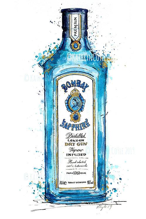 Watercolour Bombay Sapphire Gin Print