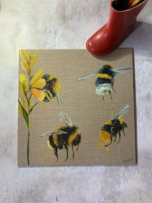 Original Acrylic on Canvas - Bees