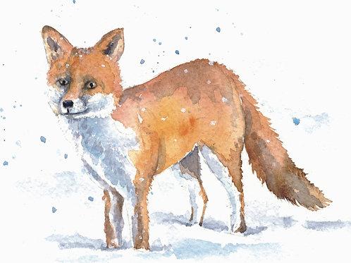 ACEO Mini Original Watercolour - Fox in the snow