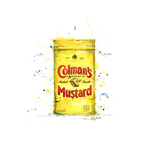 Colmans Mustard Print - Kitchen Watercolour print, Vintage Kitchen Illustration