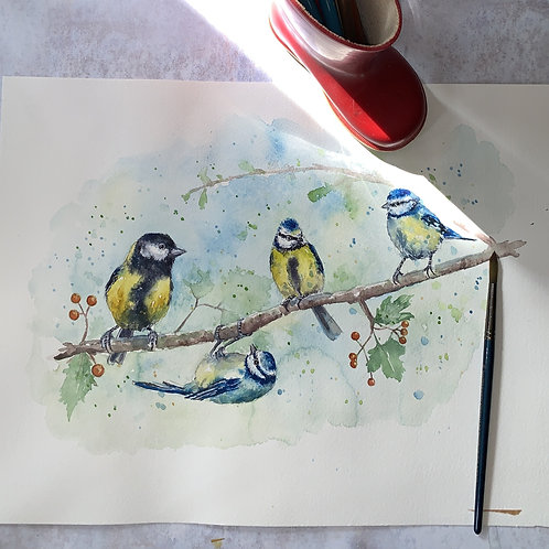 Original Watercolour -Great tit and Blue tits
