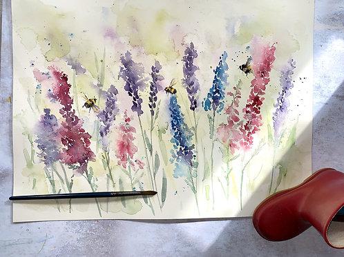Original Watercolour - Lupins and Bees