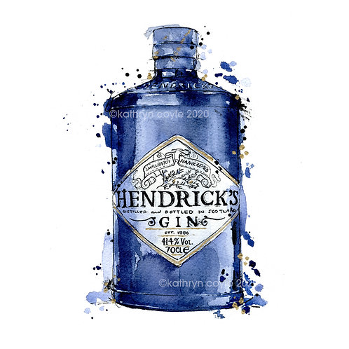 Watercolour Hendricks Gin Print
