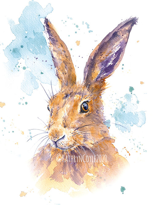 Hare - Watercolour Print from watercolour painting -Spring, March Hare