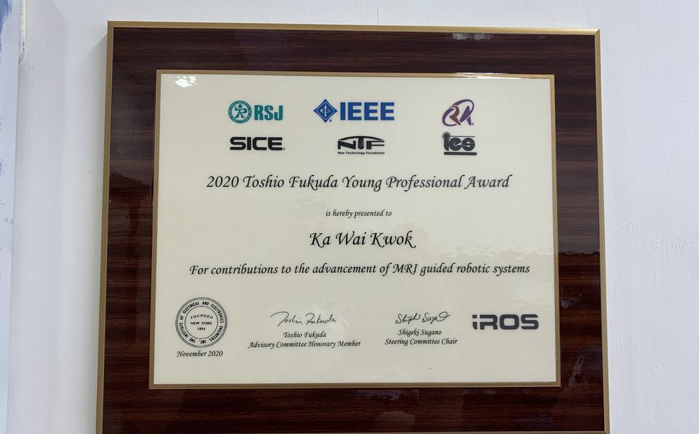 Dr. Kwok recently receives IROS Toshio Fukuda Young Professional Award