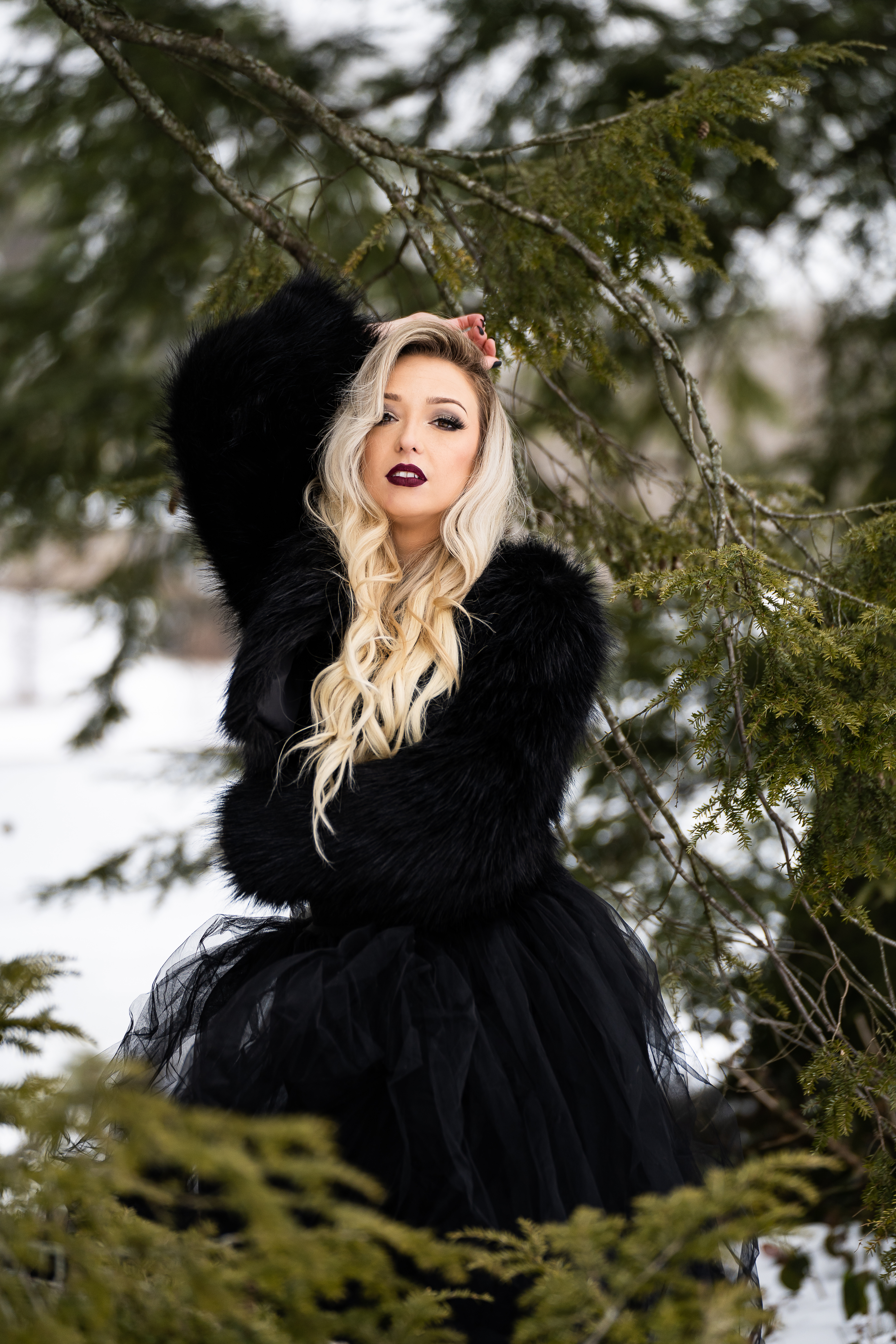 Gothic Glam Winter Portrait Session