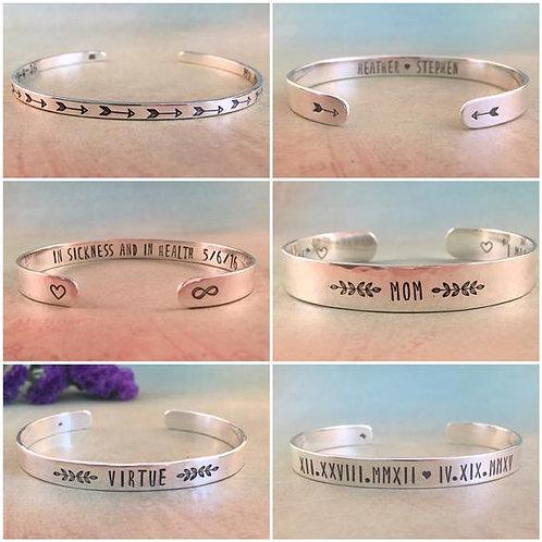 Custom Sterling Silver Cuff Bracelet
