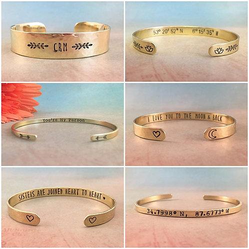 Custom Brass Cuff Bracelet