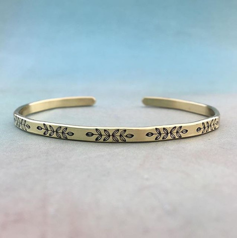 """1/8"""" wide brass cuff with leaves"""