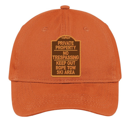 Private Property No Trespassing Keep Out Ski Area Hat