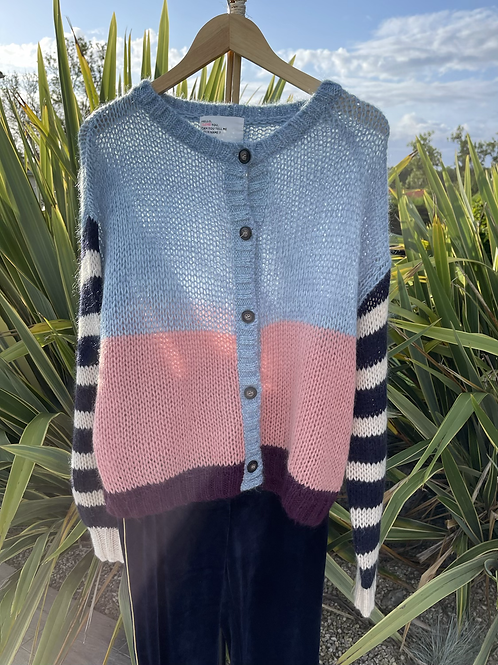Gilet en maille manches rayées