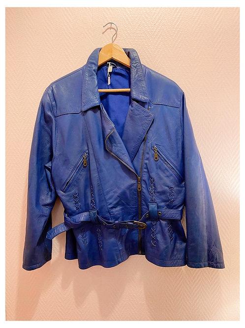 Veste vintage cuir bleu
