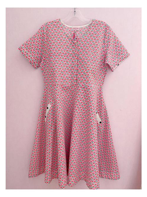 Robe imprimée sur fond rose Betty Lou