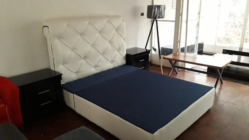 White DiamondTufted Headboard & base