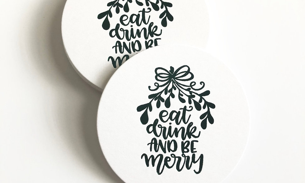 Eat, Drink & Be Merry Foil Coaster