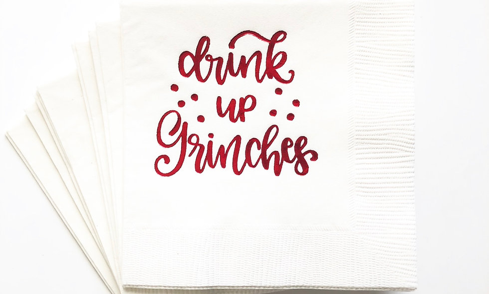Drink Up Grinches! Beverage Napkins