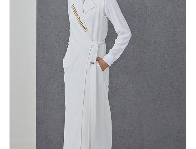 Long wrap vest ARIANA white
