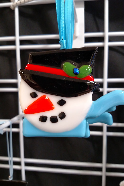 Glass Snowman with Scarf