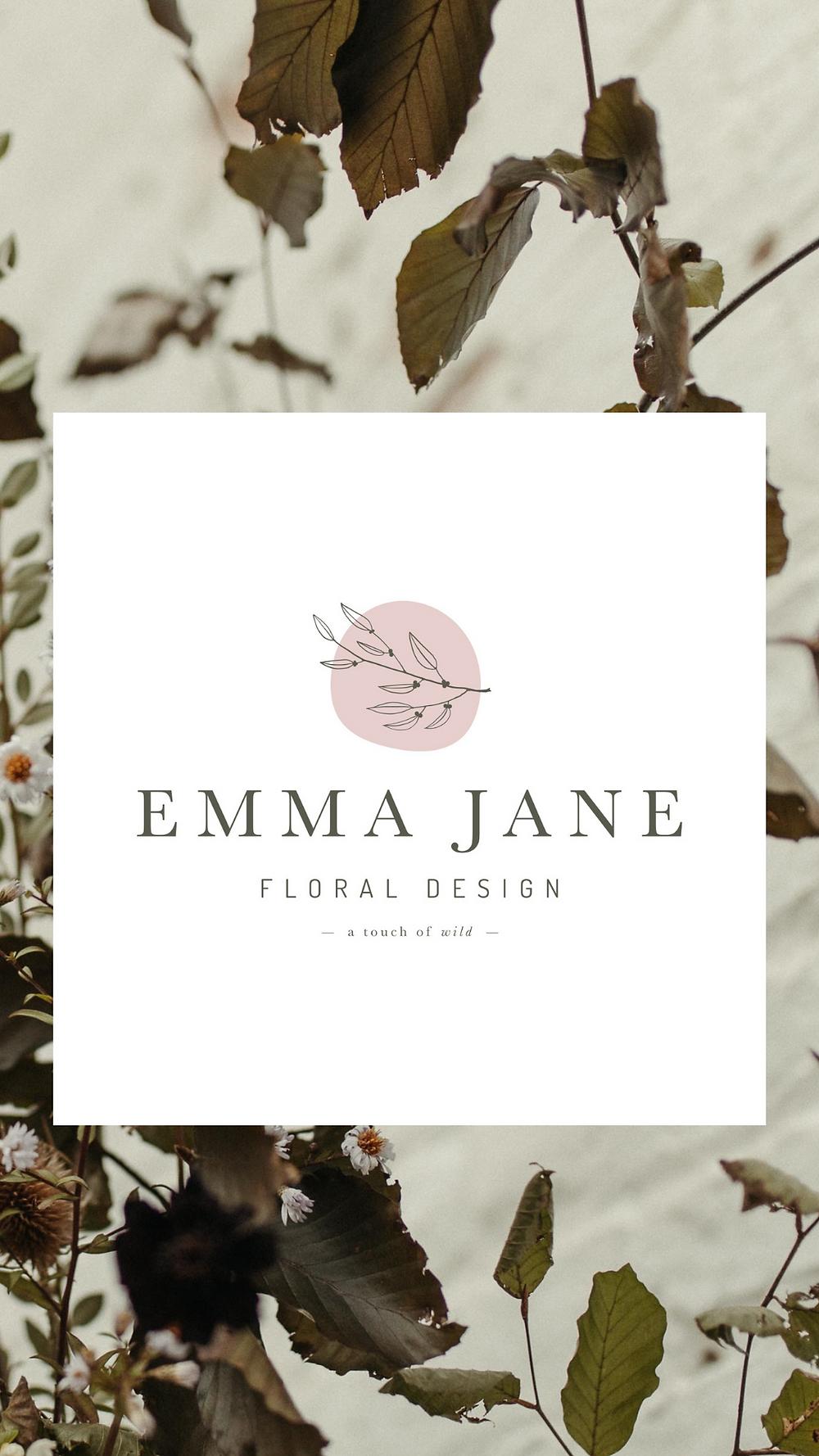 Emma Jane Floral Design logo with floral installation background