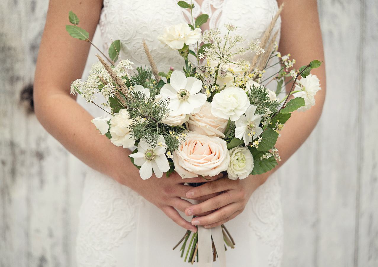 Modern bridal bouquet with dried flowers by Emma Jane Floral Design
