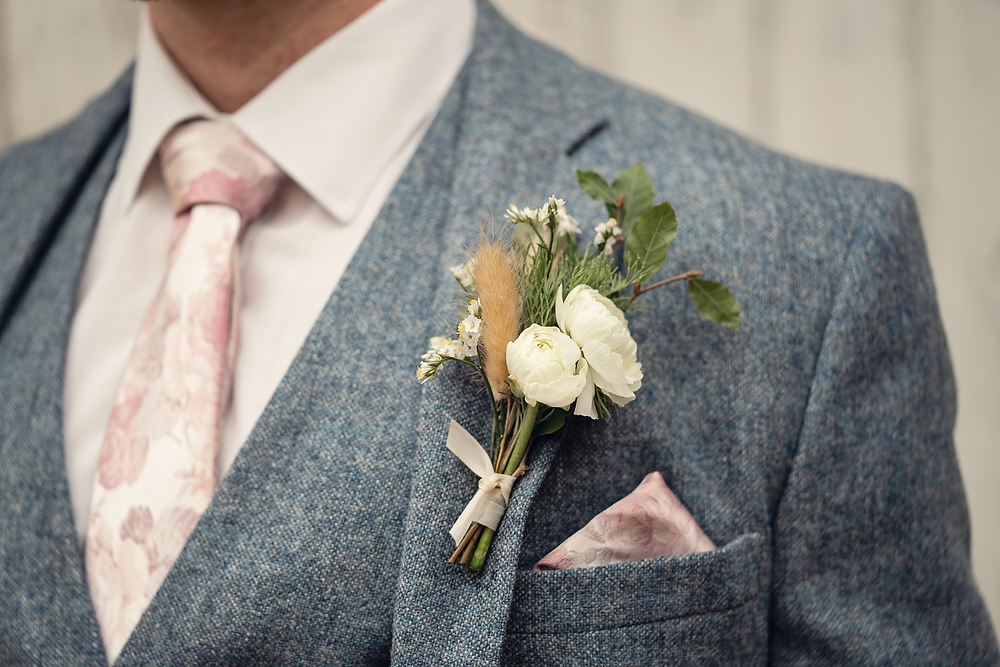 Fresh and dried floral buttonhole by Emma Jane Floral Design at Plas Dinam Country House