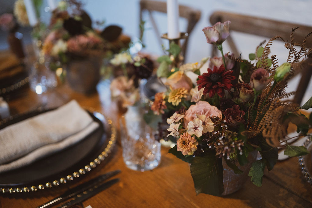 Luxurious boho compote table centrepiece by Emma Jane Floral Design