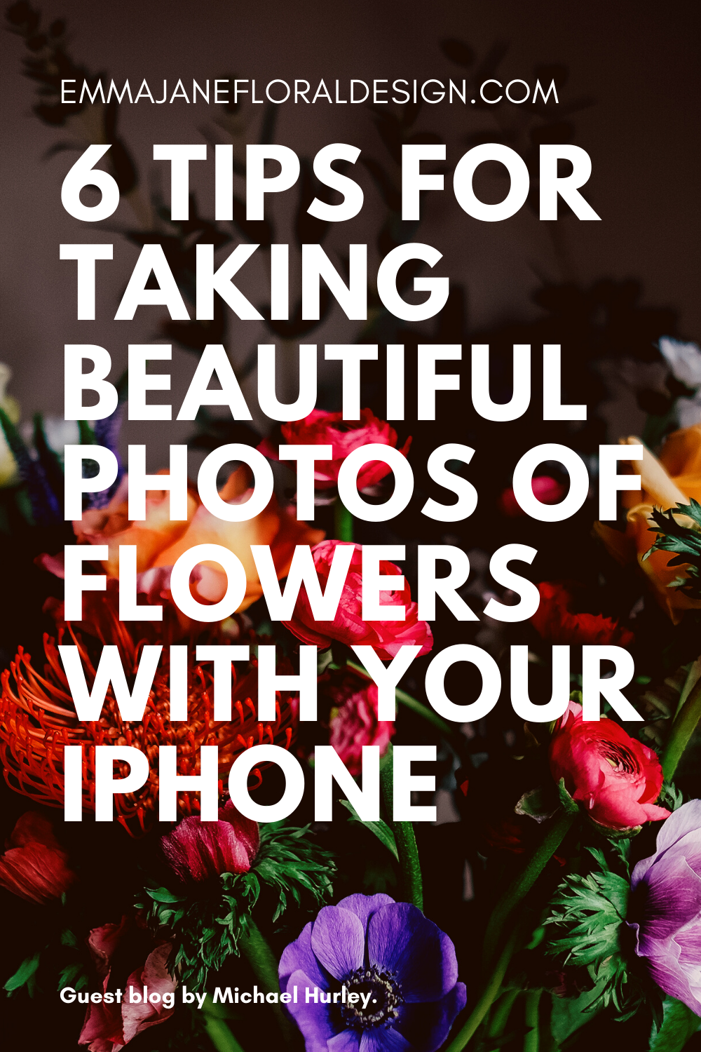 """Floral background with white text reading """"6 Tips For Taking Beautiful Photos of Flowers With Your iPhone"""""""