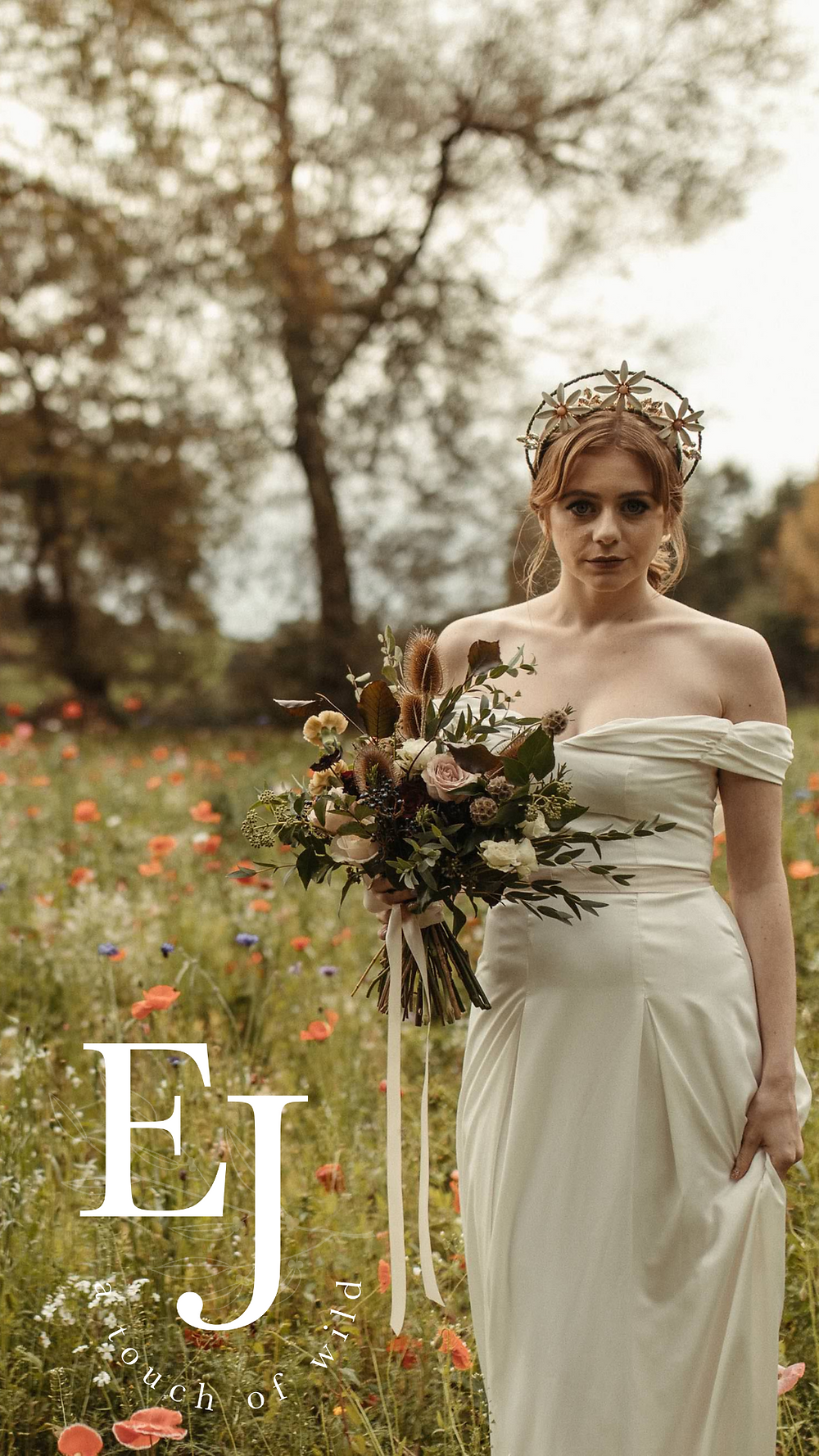 Emma Jane Floral Design logo with bride holding a wedding bouquet in a wildflower field