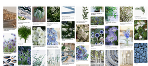 Emma jane floral design snips an image from pinterest wedding inspiration board titled sea glass incorporating tones of blue and white