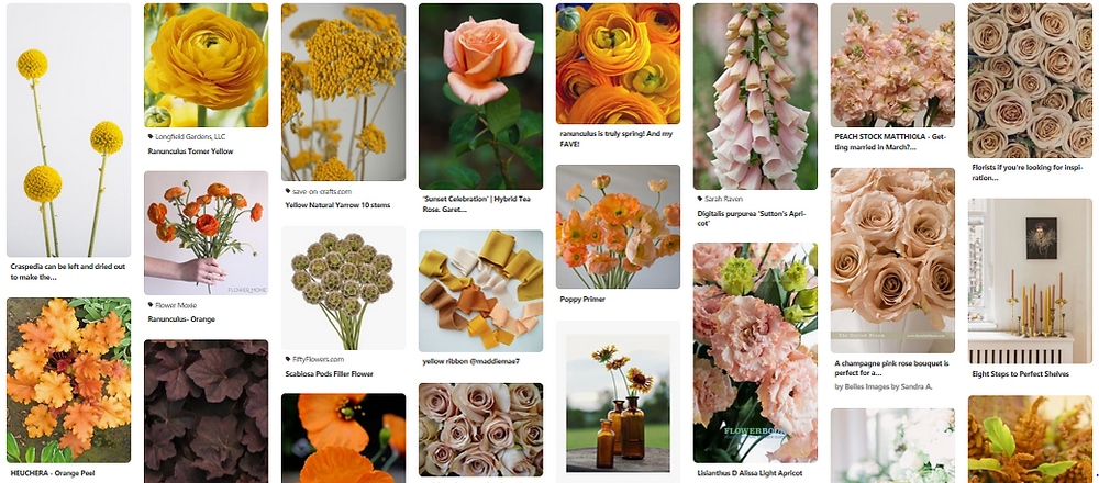 Emma Jane Floral Design compiles a pinterest inspiration board in tones of amber and gold