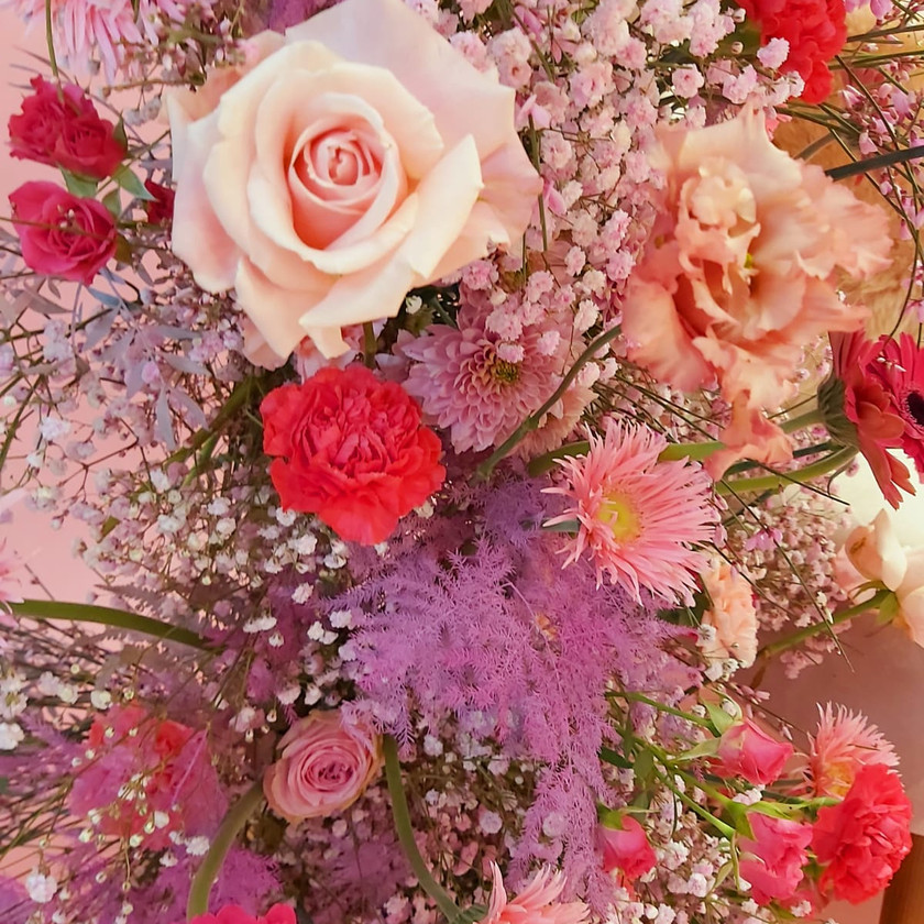 Close up image of pink blooms used in a large scale floral installation by shropshire florist emma jaen floral design