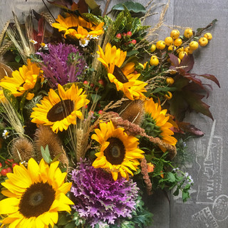 Rustic sheaf funeral arrangement by Emma Jane Floral Design