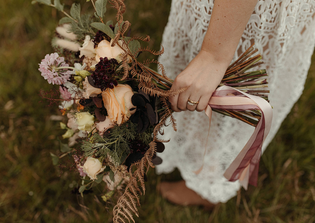 Modern boho wedding bouquet by Emma Jane Floral Design