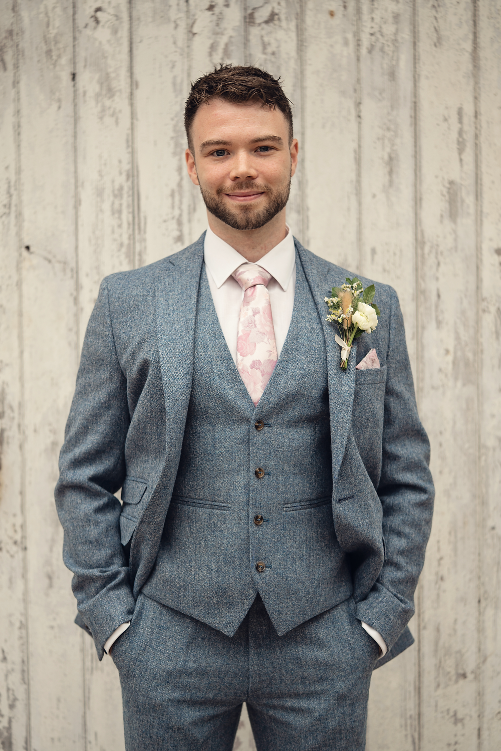 Groom with dried buttonhole by Emma Jane Floral Design