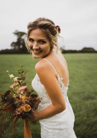 Elegant boho bouquet with trailing silk ribbon by Emma Jane Floral Design