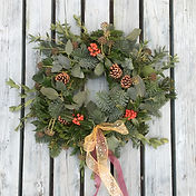 Mixed foliage traditional christmas wreath by Emma Jane Floral Design