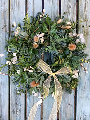 Fresh wreath with dried elements by Emma Jane Floral Design