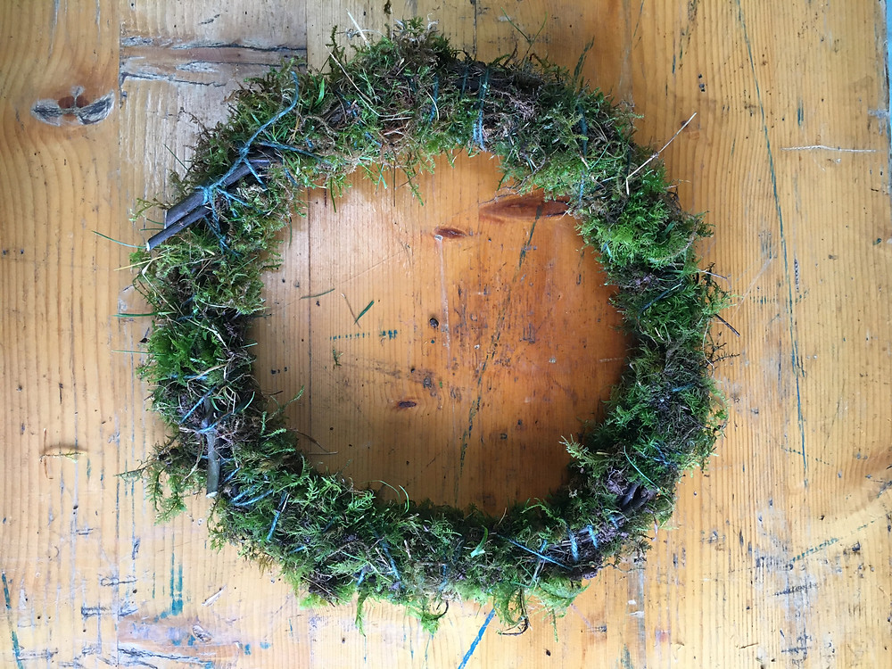Moss wreath base to make your own Easter wreath with Emma Jane Floral Design