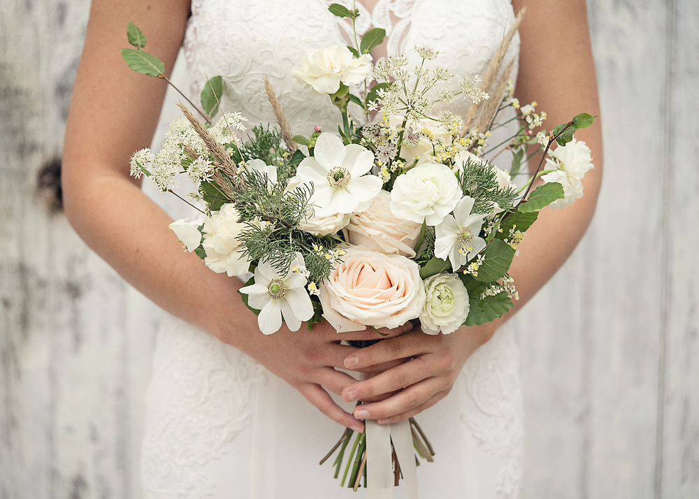 modern boho wedding flowers by Emma Jane Floral Design at Plas Dinam Country House