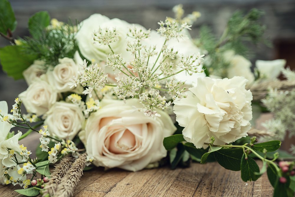 Modern classic bridal bouquet by Emma Jane Floral Design at Plas Dinam Country House