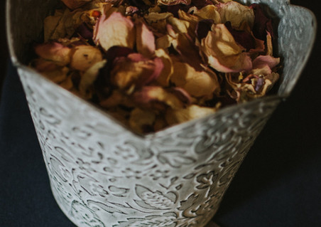 Loose dried rose petal confetti from Emma Jane Floral Design