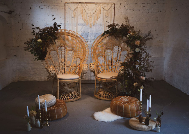 Peacock chair installation by Emma Jane Floral Design