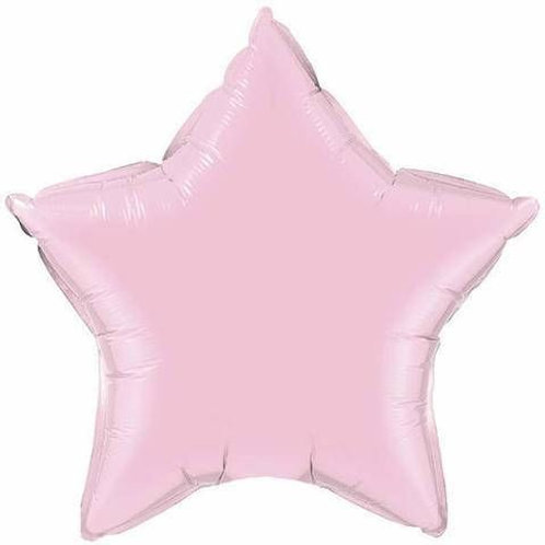 Pink Star Balloon with Angel/Hearts