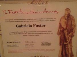 Gabriela Foster Wins Frist Humanitarian Award for Jalen's Gift Foundation