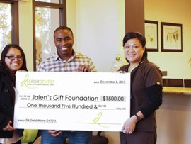 Dee For Dentist Donates $1,500 to Jalen's Gift Kids Group