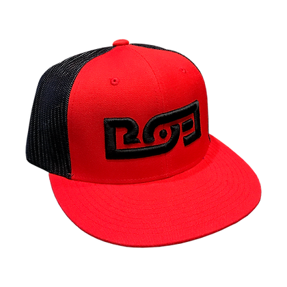 Logo Flatbill Snapback (Red / Black)