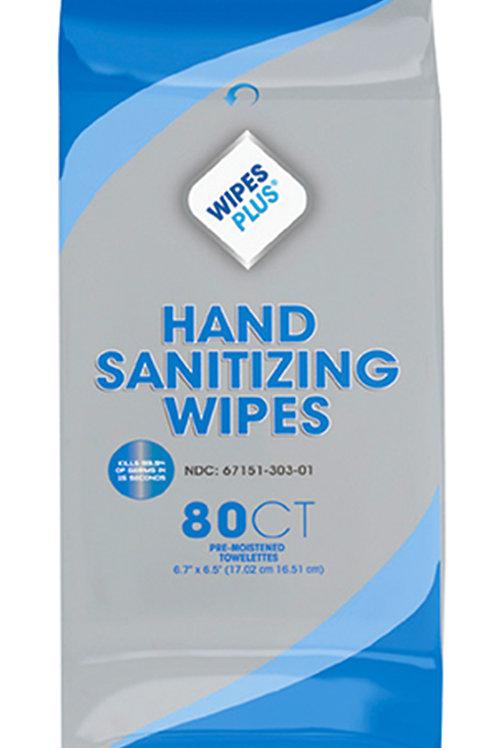 WIPES PLUS hand sanitizing, alcohol-free wipes