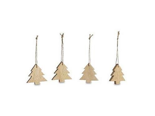 Decorazione in legno albero natale piccolo (set di 4)