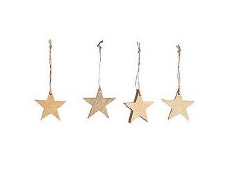 Decorazione in legno stella piccola (set di 4)